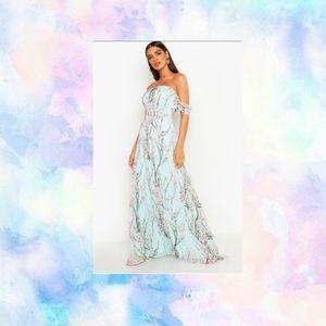 Off the Shoulder Floral Maxi Dress NWT